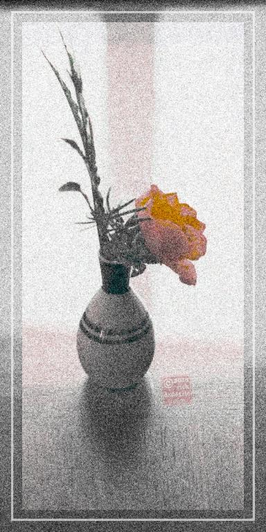 ©13 Yellow Rose Vase 4b sml6x