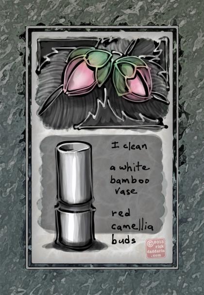 ©13 Red Camellia White Vase 5 sml6x